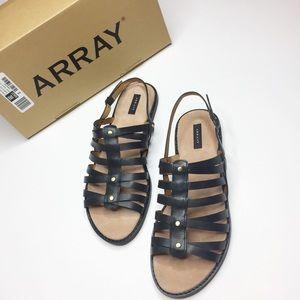 NIB NEW Array black leather sandals strappy Size 9